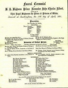 Funderal Program for Edward VII's son, Prince Alexander. Found at https://www.pinterest.com/pin/ 85990674107511372/