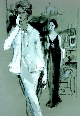 Kenneth Paul Block illustrates Babe Paley (1960s) in a Mainbocher evening suit.