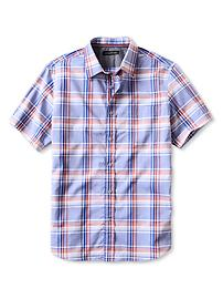 Multi-Plaid Short-Sleeve Shirt - Blue