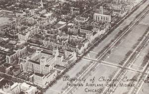 postcard-chicago-university-of-chicago-aerial-midway-on-right-looking-e-c1940