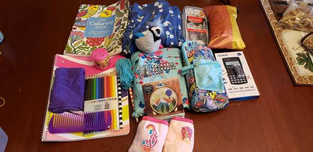 Girl 10 to 14 box for secondary school: Cloth sanitary pads, geometry set, scientific calculator.