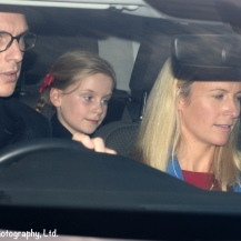 George and Lady Rose Gilman Leave the Queen's Christmas party for extended family at Buckingham Palace