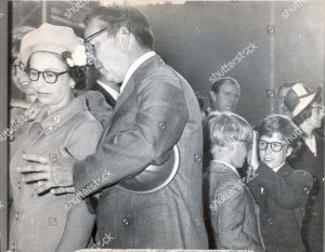 Queen Elizabeth & Prince Philip- Wearing Glasses. Picture Shows The Queen Visiting Nigg Oil Centre. Lord Linley And Prince Edward Are Also Wearing Protective Glasses.